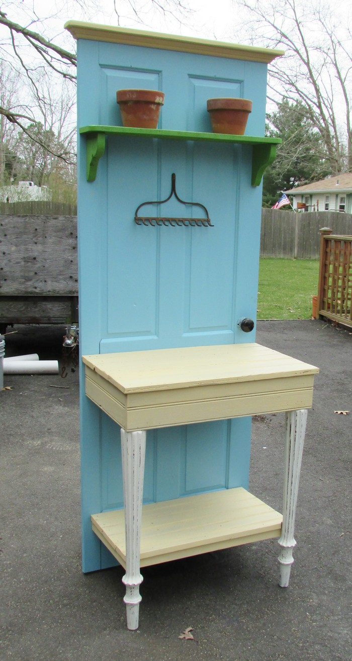 Build A Potting Bench Out Of An Old Wood Door Your