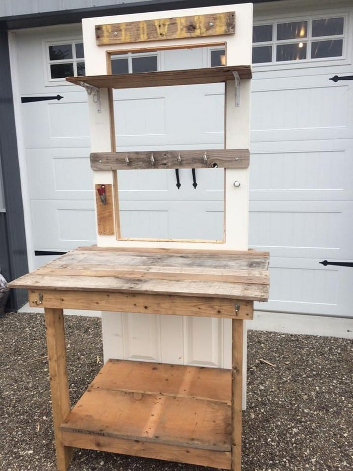 Build A Potting Bench Out Of An Old Wood Door Your Projects Obn