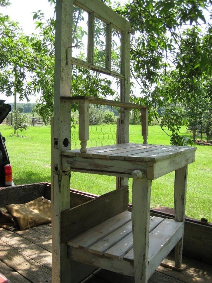 Build a potting bench out of an old wood door | Your ...