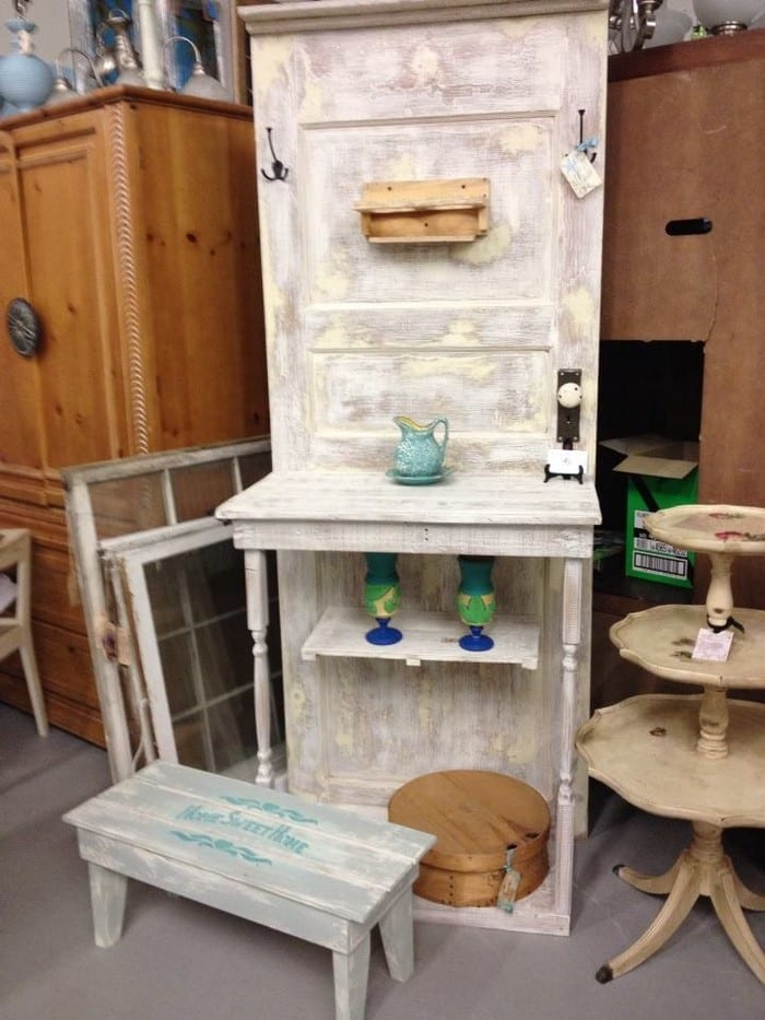 Build a potting bench out of an old wood door your for How to turn an old door into a table