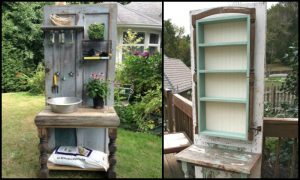 Build a potting bench out of an old wood door