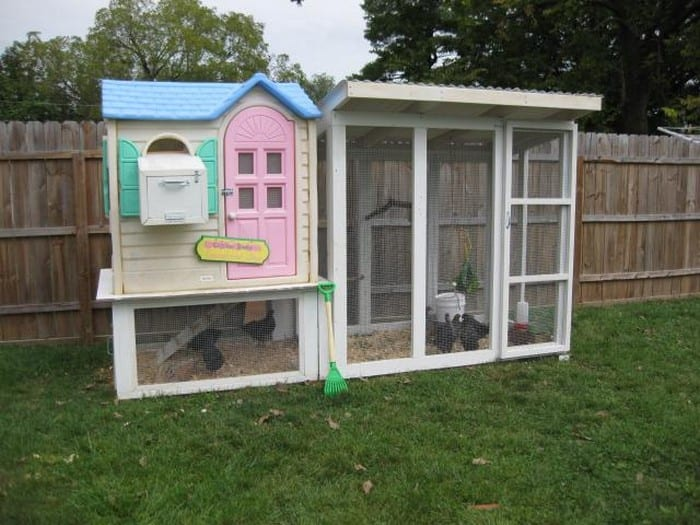 Old playhouse turned chicken coop!