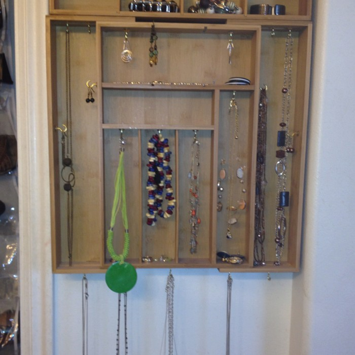 Organize your jewelry with a silverware tray your for Repurposed jewelry holder
