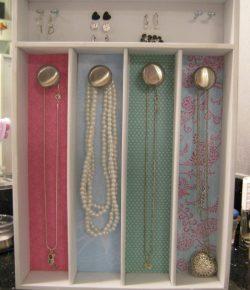 Jewelry organizer made from silverware tray
