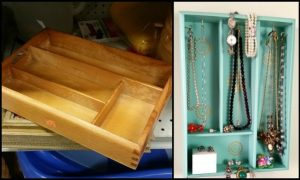 Organize your jewelry with a silverware tray!