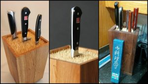 Make your own universal knife block with bamboo skewers