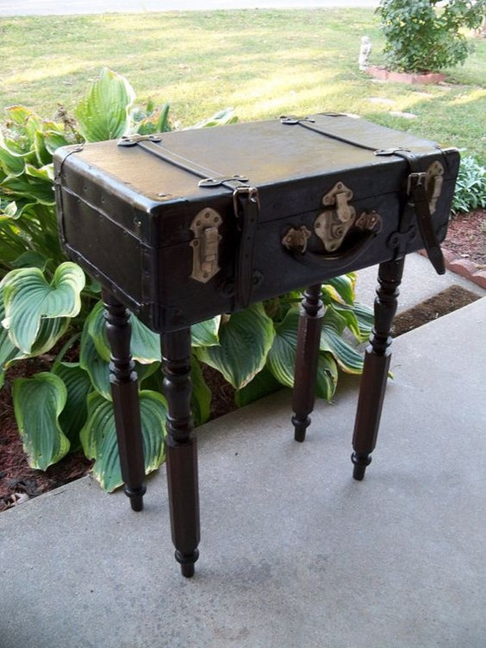 Turn vintage suitcases into a unique side table!
