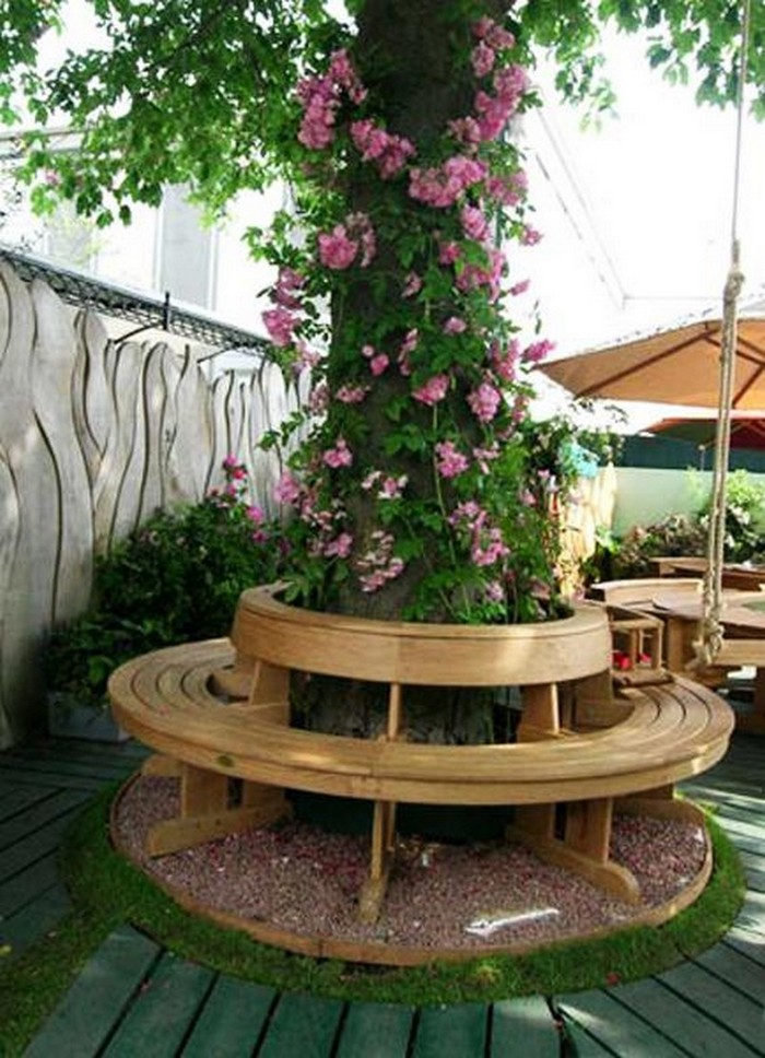Flower Garden Ideas Around Tree build a bench around a tree with kitchen chairs!