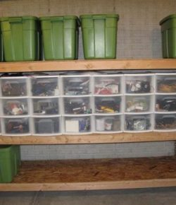 Storage Bins in Shelves