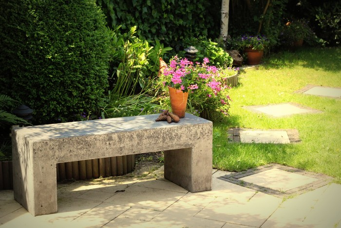 DIY Concrete Garden Bench
