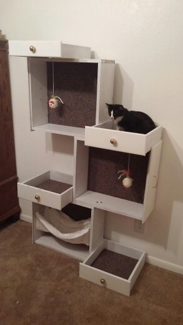 Build Your Pampered Feline A Cat Tree With Old Drawers