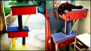 Build your pampered feline a cat tree with old drawers!