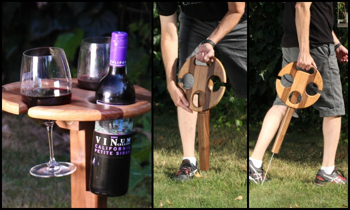 Make drinking wine outdoors convenient with this DIY wine caddy