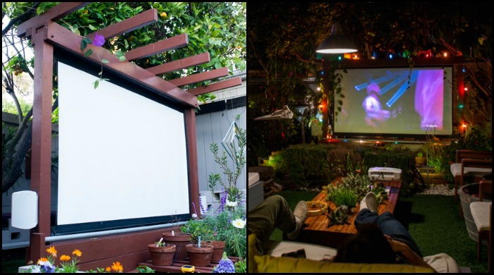 Bring more entertainment to your backyard by building an outdoor movie theater!