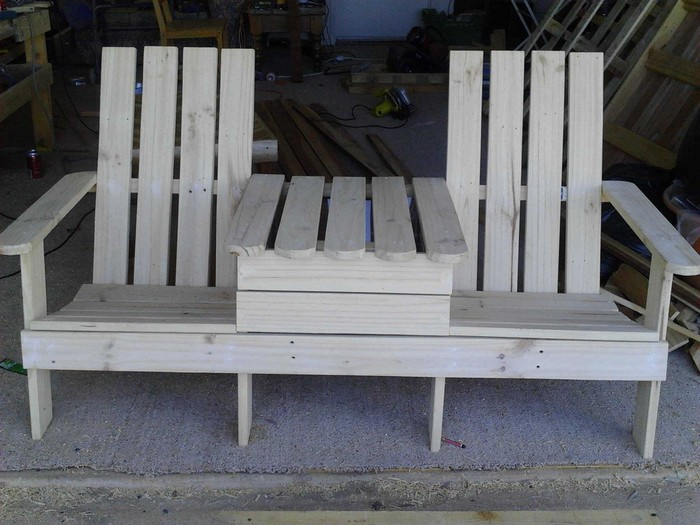 Admirable Enjoy Your Outdoor Space By Building This Double Chair Bench Ncnpc Chair Design For Home Ncnpcorg