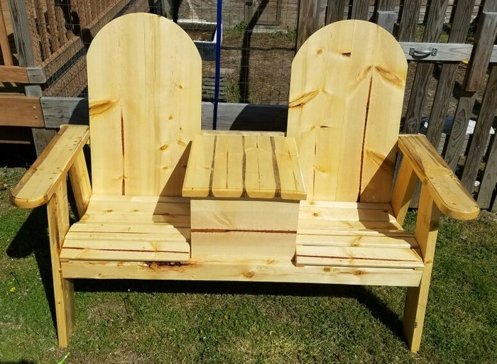 outdoor space by building this double chair bench with table