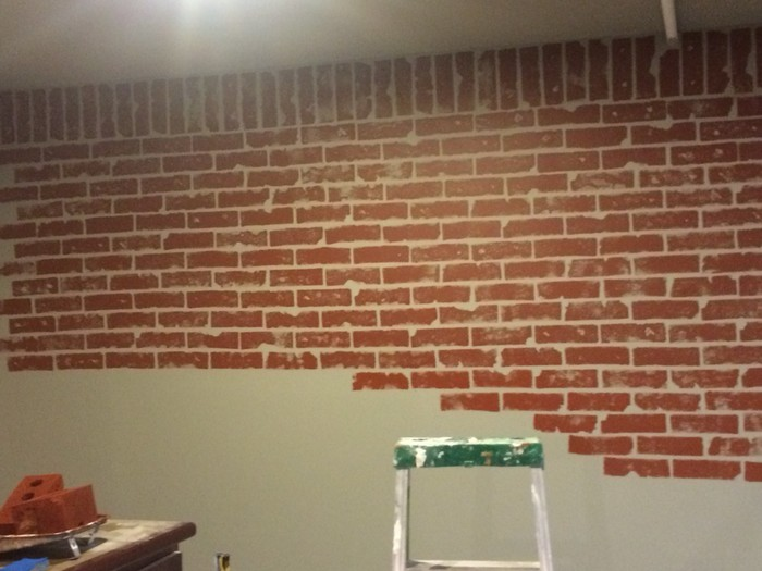 Give your walls a new look with a faux brick wall diy Grey sponge painted walls