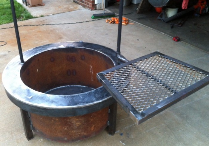Build a fire pit with cooking grill in your backyard diy for Fire pit project