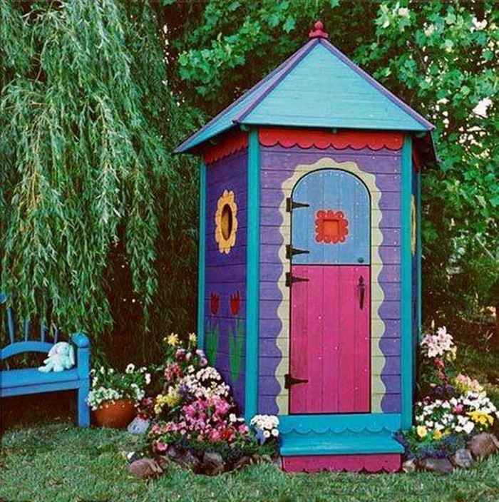 bright and colourful garden tool shed