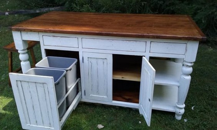 kitchen island with trash bin build a beautiful kitchen island with a tilt out trash bin 24828