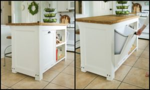 Build a beautiful kitchen island with a tilt-out trash bin!