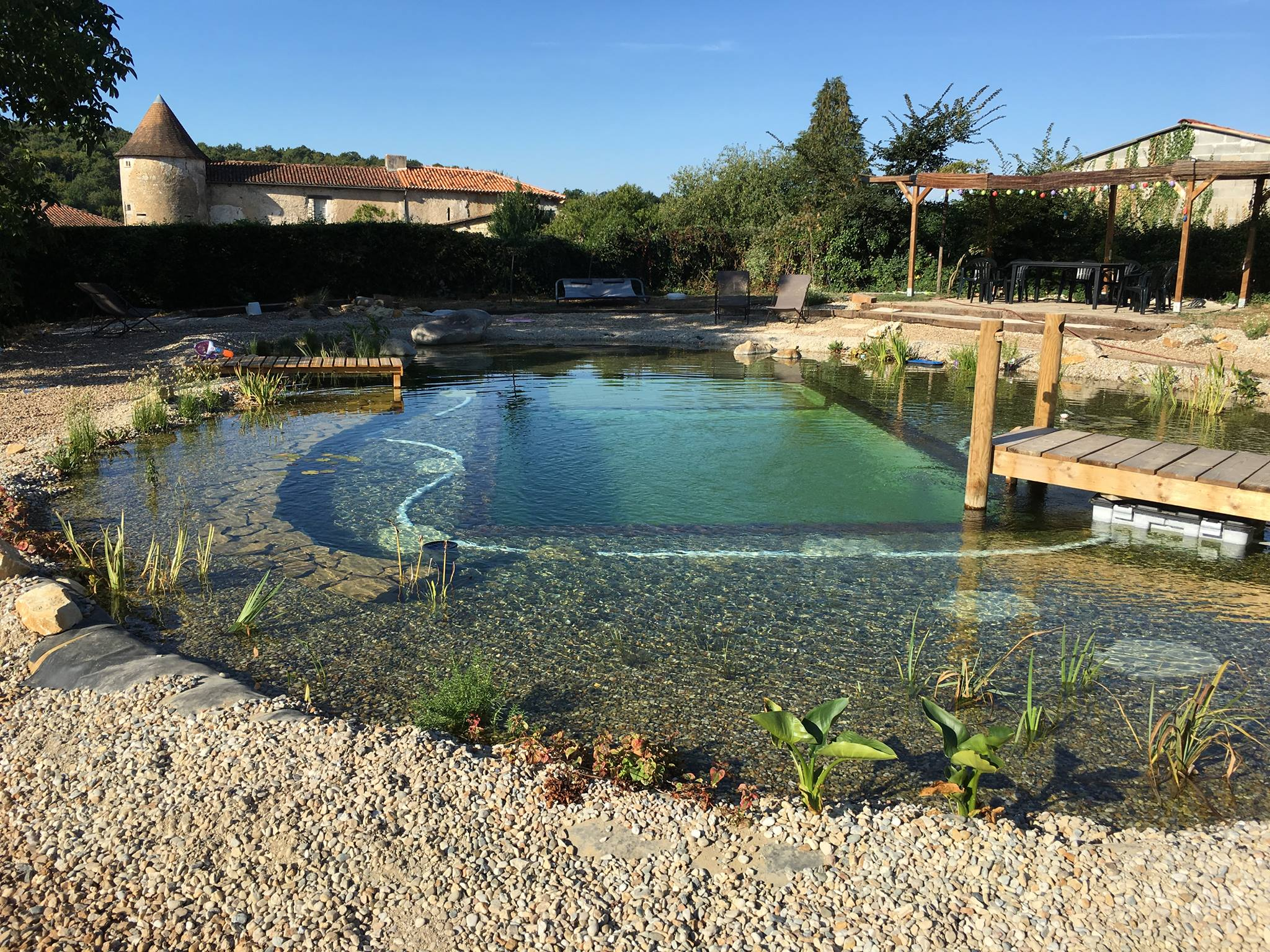 This pond was built by Beverly Easell and her family at a cost of E18,000, a saving of more than E100,000 over the quote from a natural pond company.