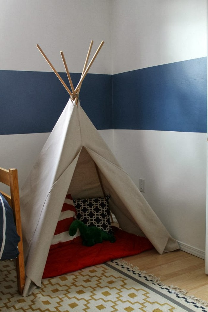 Build your kids a fun no sew teepee tent kids playhouse for Build your own canvas tent