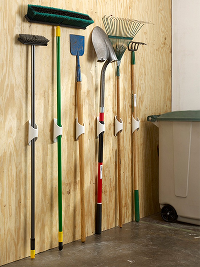Organize your garage by making a pvc yard tool storage for Garden tool storage ideas