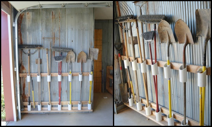 Organize your garage by making a PVC yard tool storage