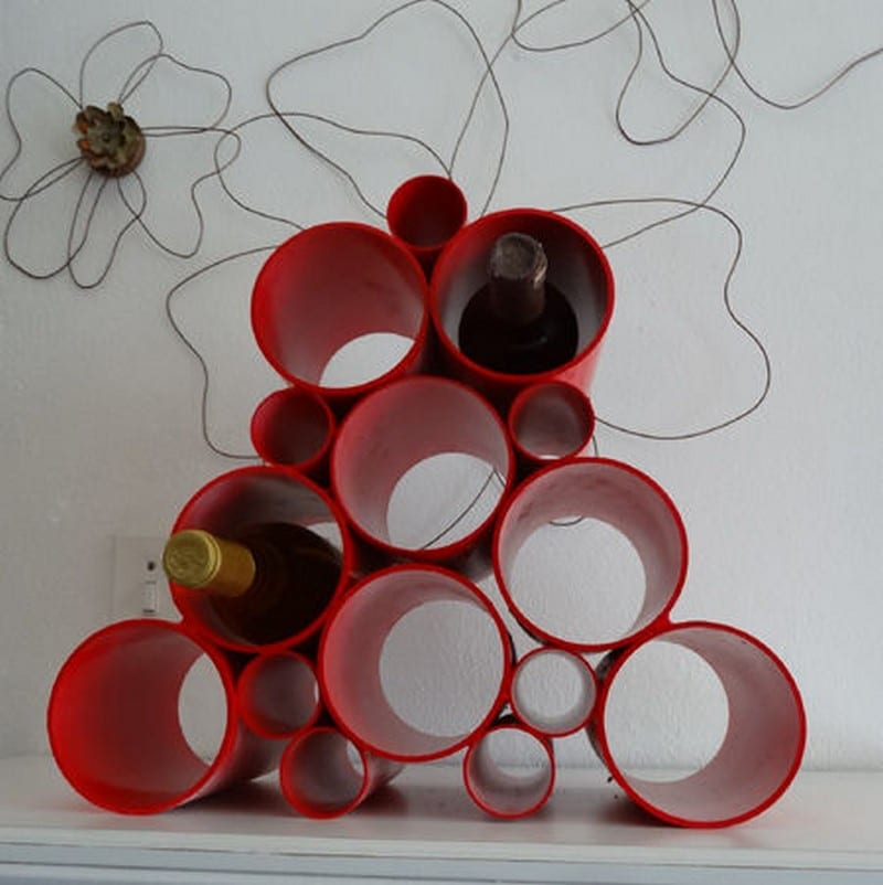 DIY this easy PVC Pipe Wine Rack!