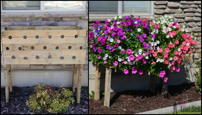 Make a pallet planter box for beautiful cascading flowers!