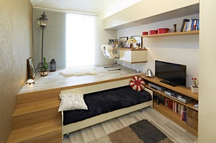 Maximize Bedroom Space By Building A Bed Under Platform Bed