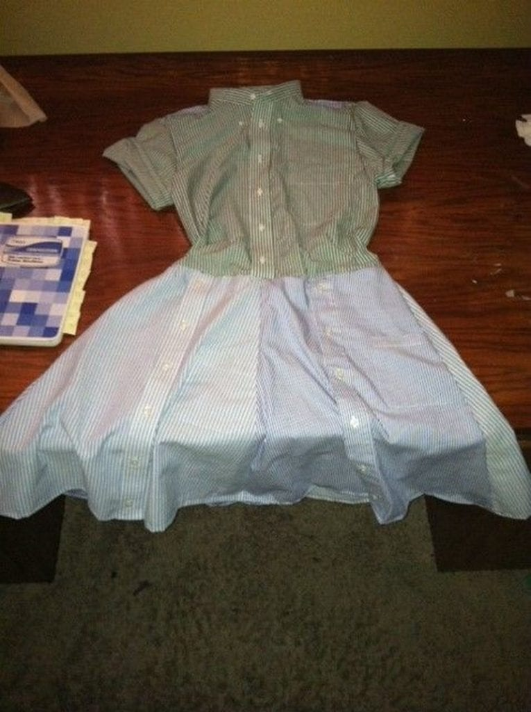 Turn daddy's shirts into a dress