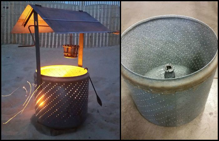 How to turn an old washing machine into a wishing well burn barrell