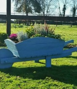 Pallet Wheelbarrow Planter