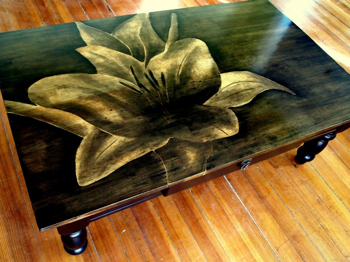 Give old furniture pieces a new look with wood stain art!
