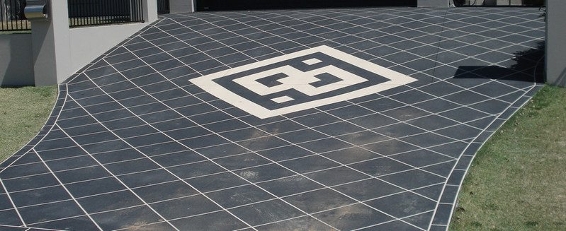 An example of a stencilled driveway. Stencils come in various pattens and colours.