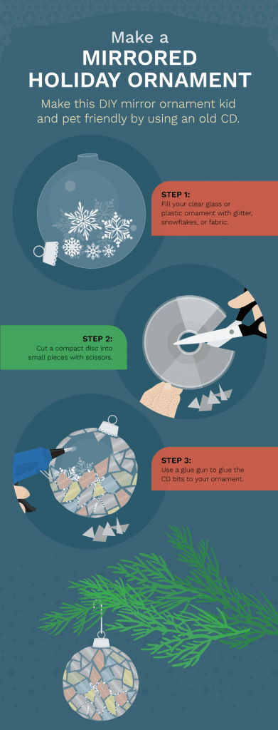 Make Mirrored Holiday Ornament - Ways to Reuse Broken Glass and Mirrors in Your Decor