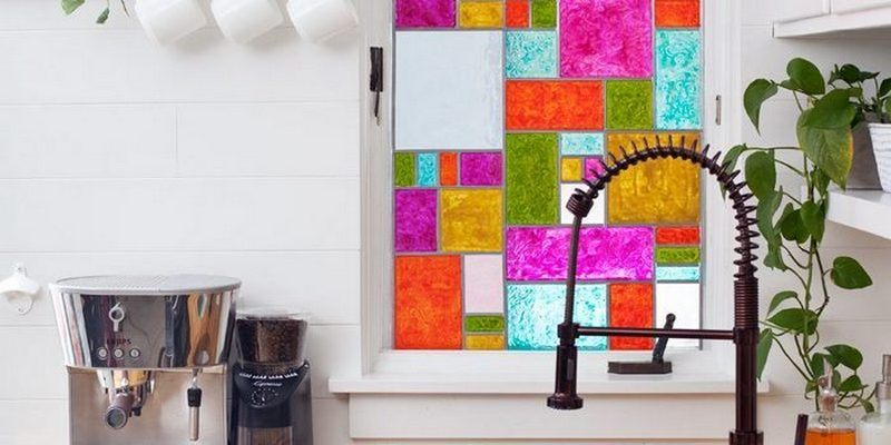 Faux stained glass windows are not only beautiful, they give you privacy, too.