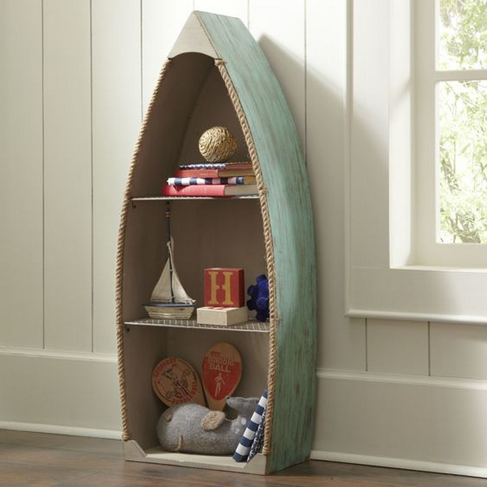 Bring the beach into your home through this boat bookshelf!