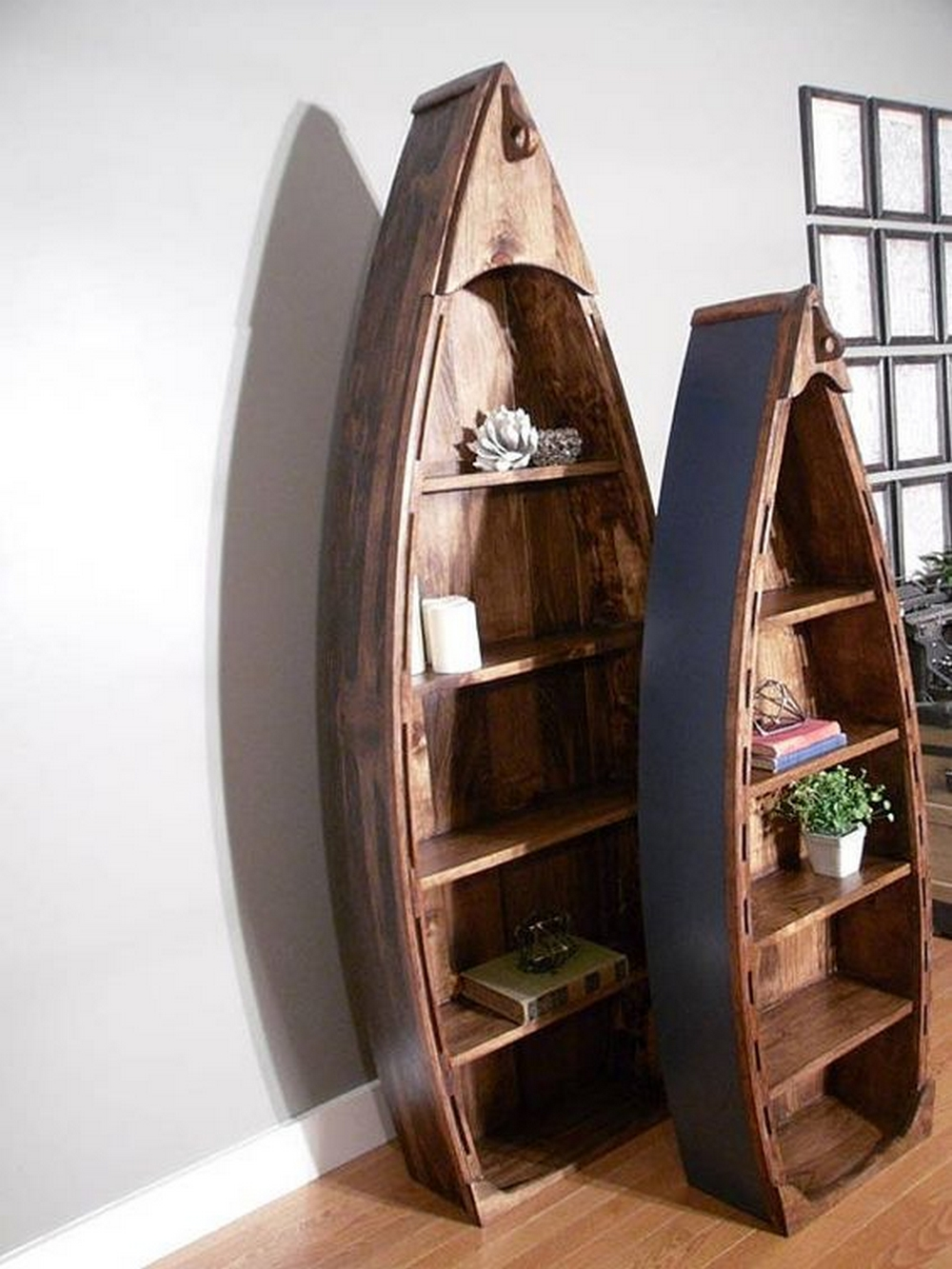 A boat bookshelf will surely be a standout piece in any room.