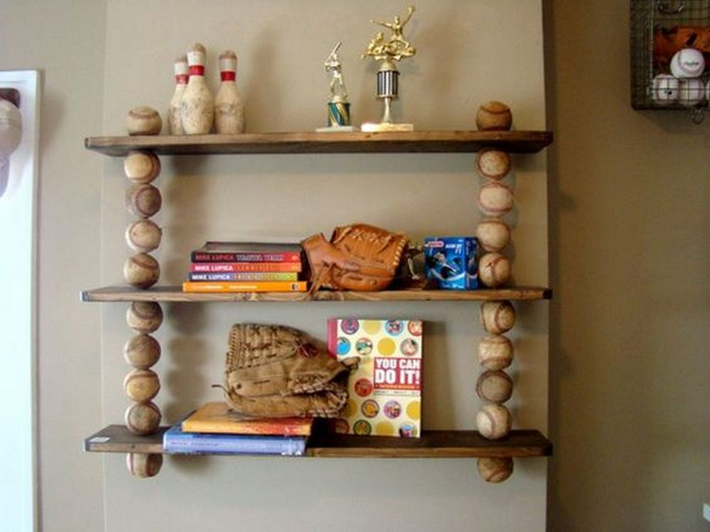 Got old baseballs? Turn them into this functional baseball shelf!