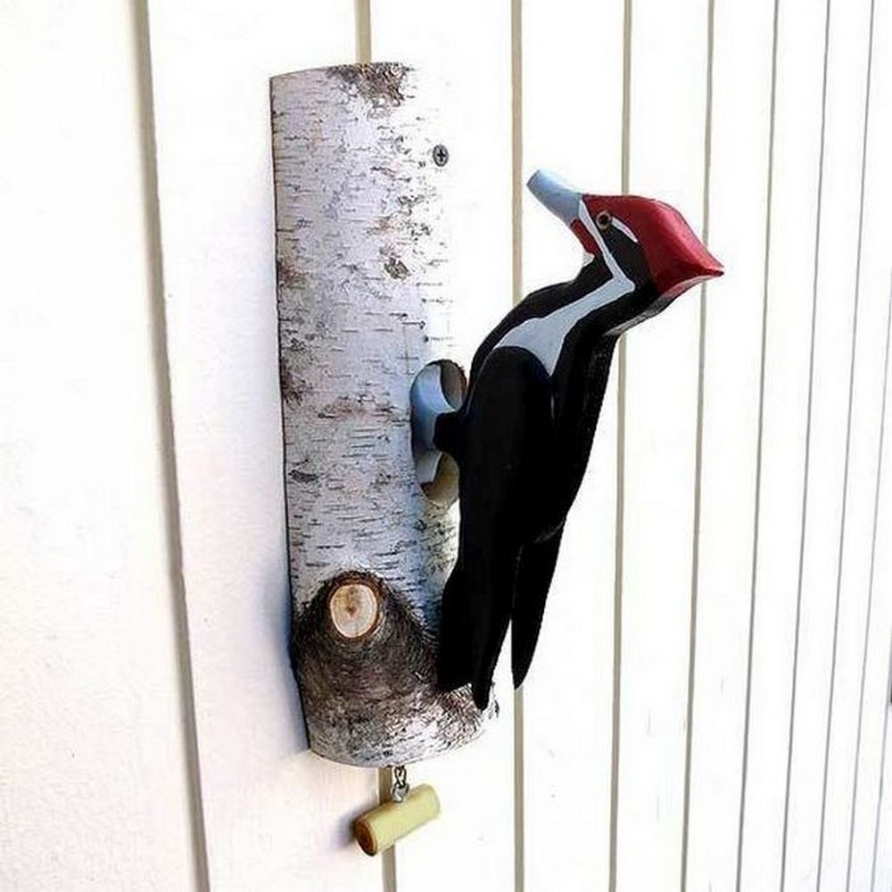 DIY woodpecker door knockers are perfect for your home or you can give them as a gift.