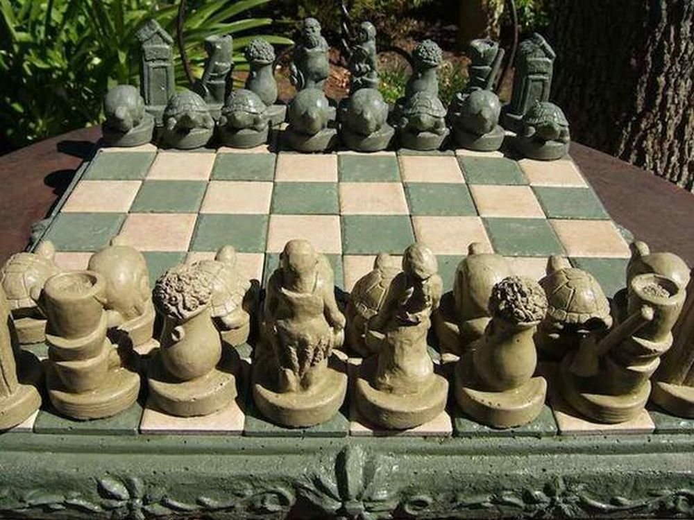 This outdoor chess board will make a perfect accent to your backyard patio.