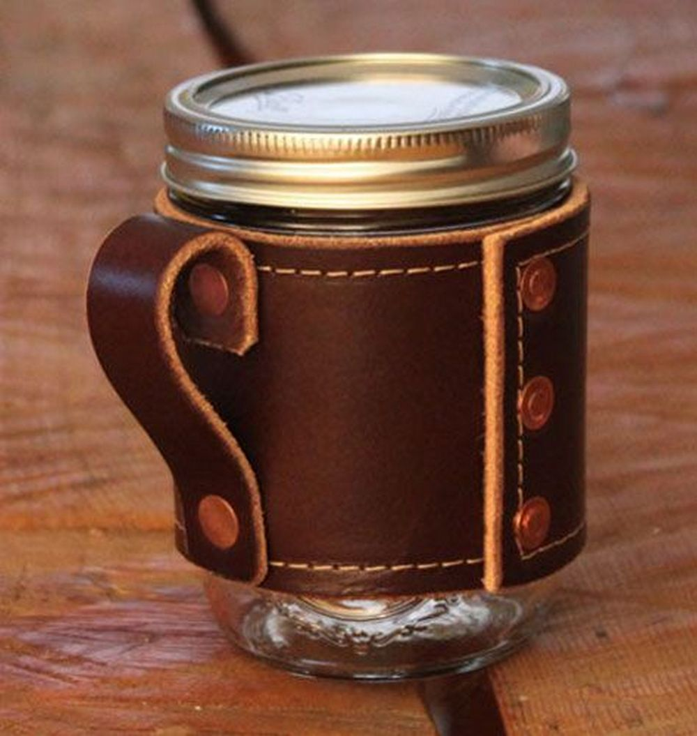 How to Make Mason Jar Leather Sleeve and Handle