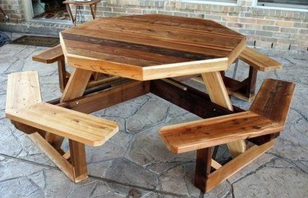 This DIY octagon picnic table isn't only functional, it looks beautiful, too!
