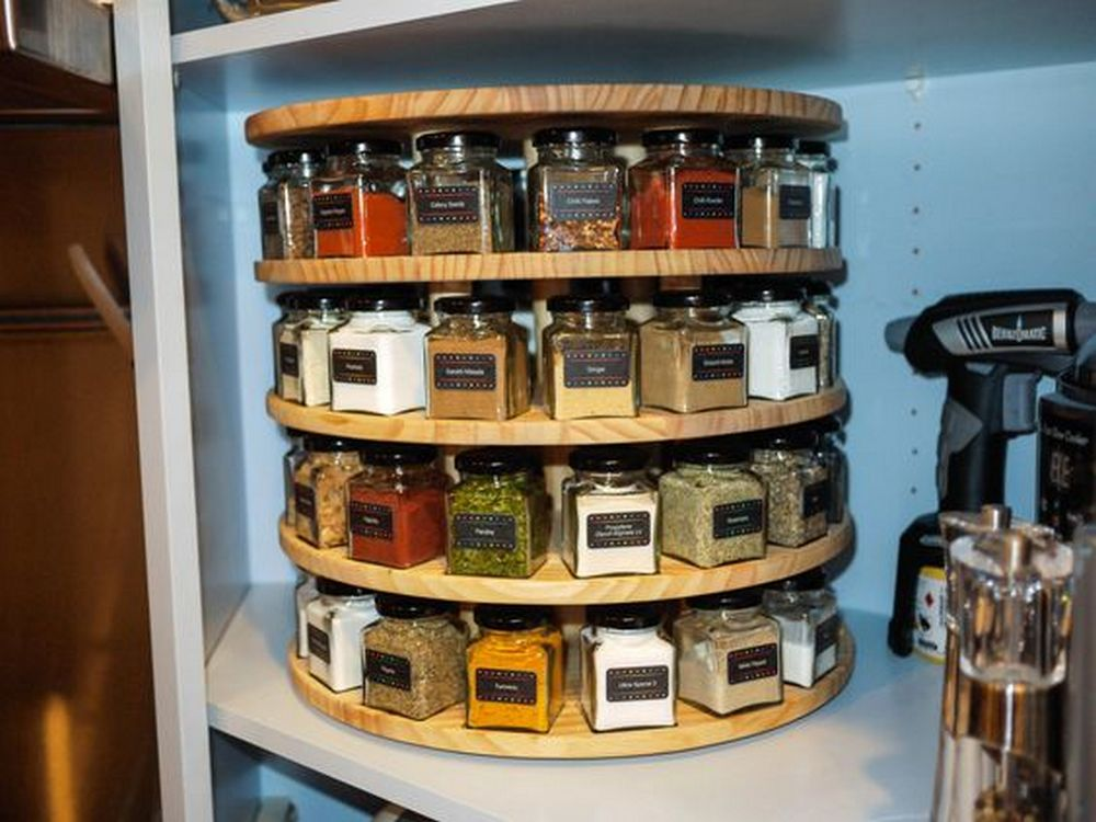 Here's a great way to organize bottles of dried herbs and spices...