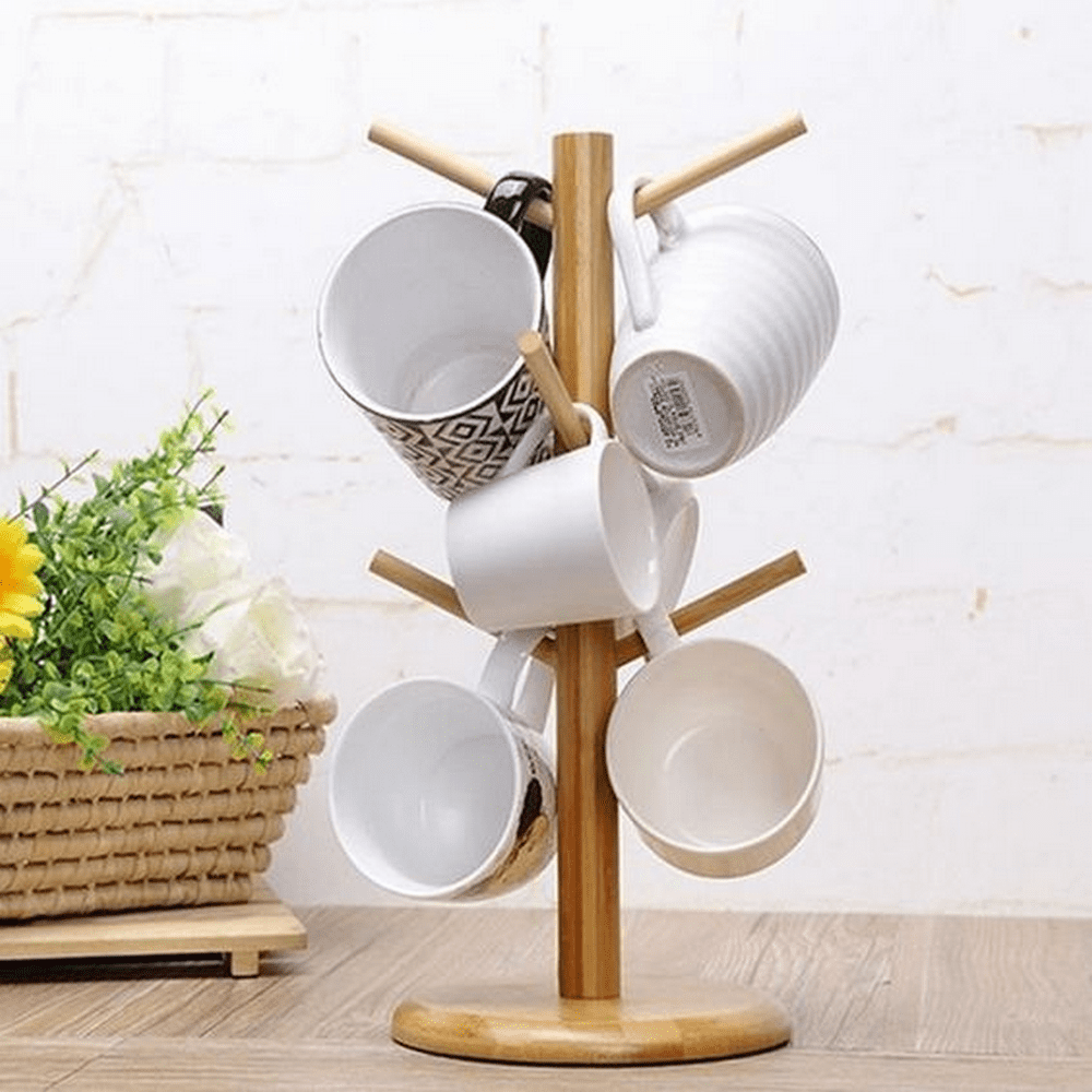 Using a coffee mug tree is a clever way to organize your mugs.