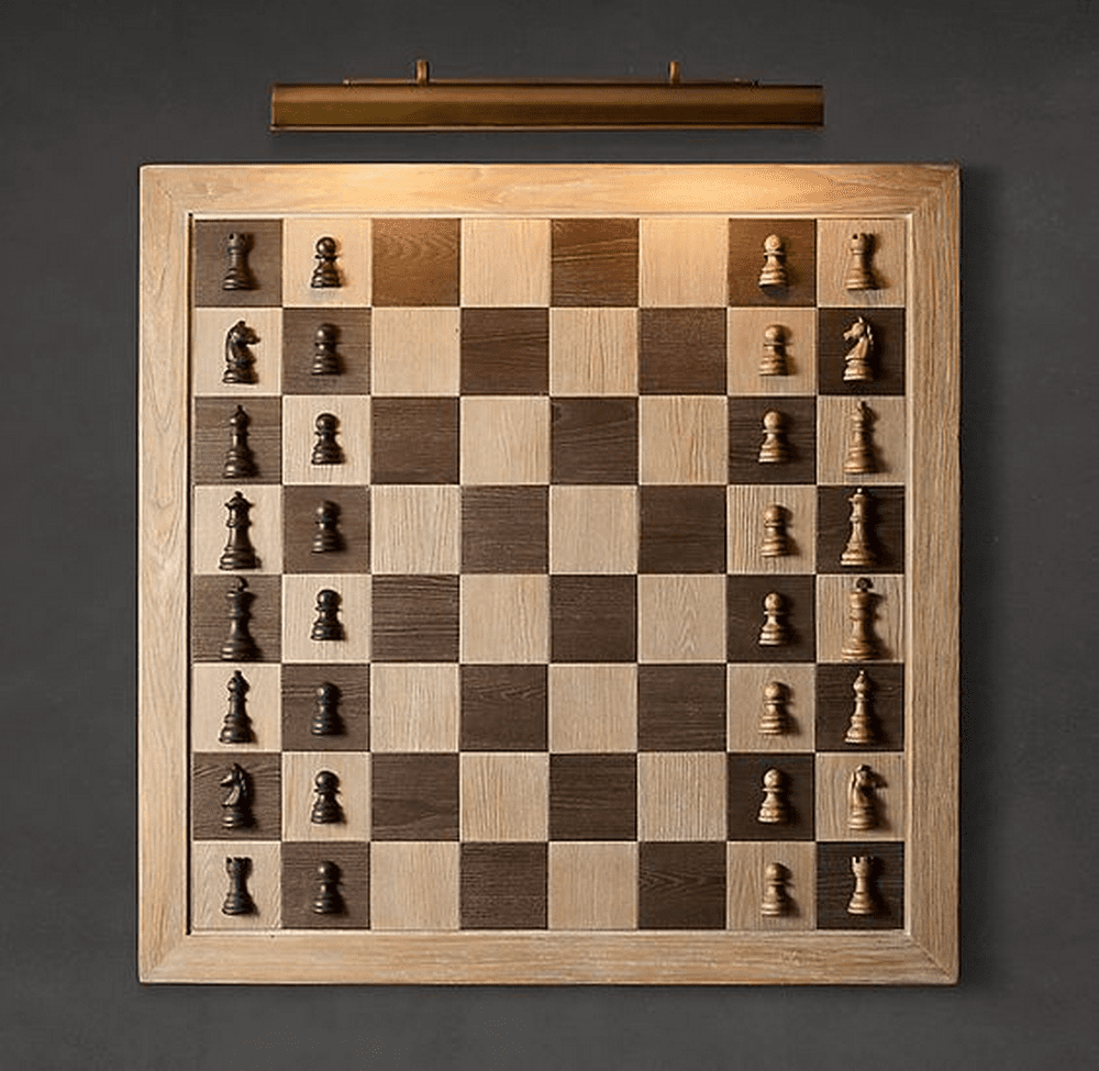 There are several design variations of a wall chess board. Choose the one that suits you best.