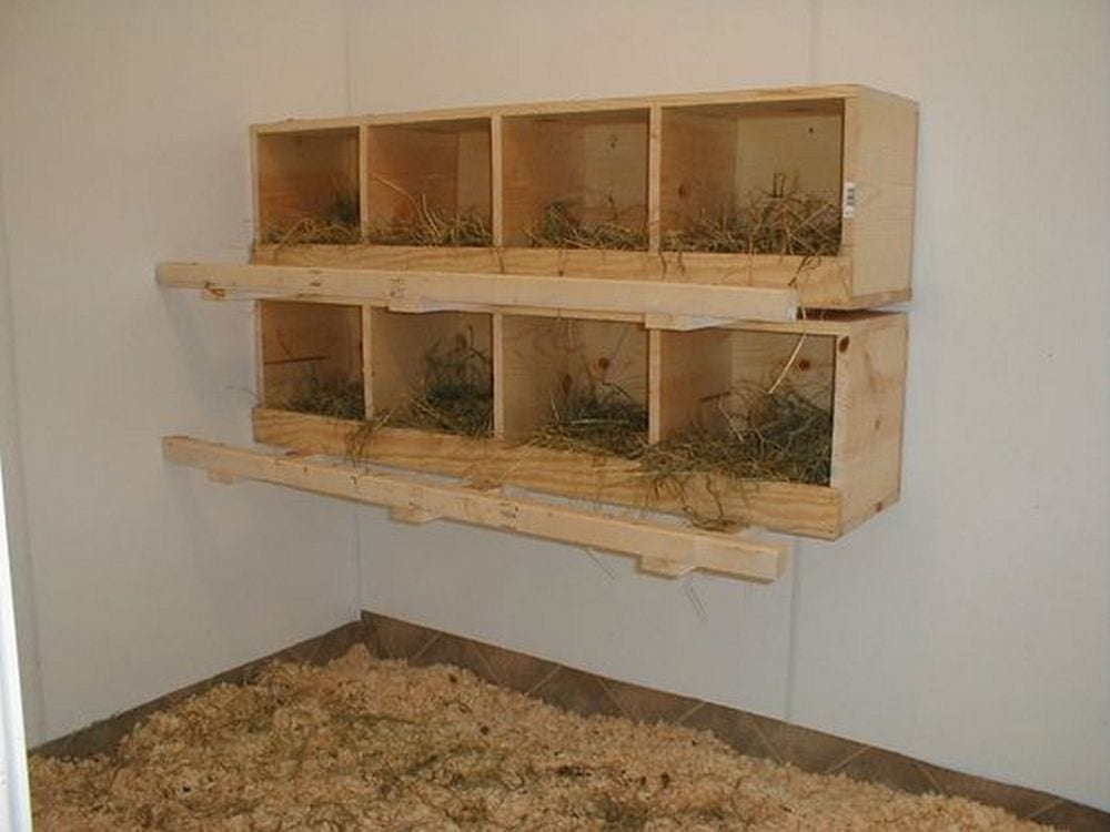 You can use any type of nesting material - straw, pine needles, or wood shavings.